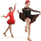 Children's lace Dancewear costumes kids girls Latin Ballroom Dance Dress S M L
