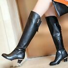 NEW Gorgeous Womens Black Cow Leather Heels Boots Sz 2.5-11.5(P119069)