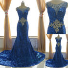 Blue Sequins Long Mermaid Womens Bridal Gowns Party Pageant Prom Evening Dresses