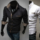 Men Premium Leopard Color Long Sleeve Dress Casual Shirts Top D-099-XS/S/M KOREA