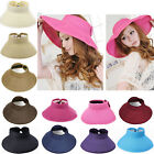 New Womens Summer Wide Brim Roll Up Foldable Bow Sun Beach Straw Visor Hat Cap