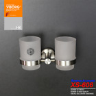 304 Stainless Steel Wall Mounted Double Toothbrush Cup Holder with 2 Glass Cups