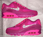 CUSTOMISED HOT PINK CRYSTAL BLING NIKE AIR MAX 90 PREMIUM WOMENS LADIES TRAINERS