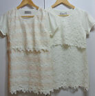Women Breast Feeding Nursing Top Maternity Lace Embroidery Short Sleeve Top