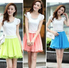 Summer Elegant Womens Short Sleeve Lace Chiffon Organza Stitching Mini Dress