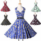 Free Ship VINTAGE HALTER STYLE 50s 60s ROCKABILLY RETRO FLORAL PINUP PARTY DRESS