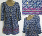 NEW EX WHITE STUFF CARAVAN BLUE FLORAL TUNIC TOP KAFTAN DRESS JERSEY SIZE 8-18