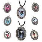 25pcs Bulk Antique Silver Girls Patterns Charms Alloy Oval Pendants Handcraft BS