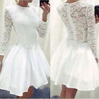 Sexy Womens Lace Long Sleeve Causal Bodycon Cocktail Party Mini Dress Vogue