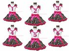 Birthday 1ST 2ND 3RD 4TH 5Th 6TH White Top Hot Pink Leopard Baby Girl Skirt 1-8Y