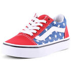 Vans Kids Stars and Stripes Old School Kids Trainers Canvas Leather Red Blue New
