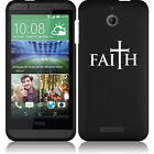 For HTC Desire 510 Rubber Hard Snap On 2 Piece Case Cover Faith Cross