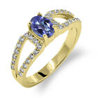 1.43 Ct Oval Natural Tanzanite Blue Mystic Topaz 14K Yellow Gold Ring
