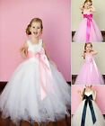 Girls-Bridesmaid Princess-Pageant-Prom-Flower girl dress 1-12 years White dress