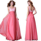 UK CHEAP 2015 Long Wedding Evening Formal Prom Maxi Dresses Bridesmaid Ball Gown