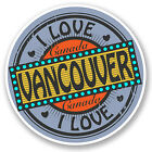 2 x Vancouver Canada Travel Luggage Tag Sticker Map Flag iPad Laptop Gift #5523