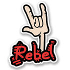 2 x 10cm Rebel Rock Hand Vinyl Decal Sticker Laptop Car Guitar Funny Cool #5545