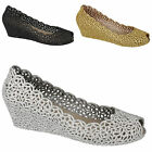 LADIES WOMENS WEDGE JELLY SANDALS BALLERINA PEEP TOE GLITTER SUMMER SHOES SIZE