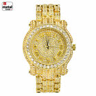 Rapper Hip Hop Fashion Iced Out 14k Gold Plated Heavy Bezel Case Men's Watches