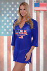 Women's USA Flag Tunic Original Pride American Red White & Blue Cover Up