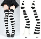 Women Cute Lolita Black White Stripe Over-knee Stocking Thigh High Sock Size S-L