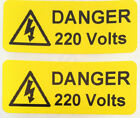 Electrical Safety Warning Labels - 220V Voltage Labels - Yellow 50mm x 20mm