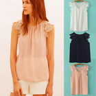 Hot Women Summer Casual Lace Floral Hollow Splice Sleeveless Chiffon Blouses New
