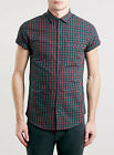 TOPMAN Boys Mens Green And Red Short Sleeve Tartan Shirt - XS S M L BNWT