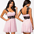 Hot Women's Summer Sleeveless Chiffon PINK Bridesmaid Cocktail Party Mini Dress
