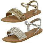 Ladies Leather Collection Beaded Sandals F0896