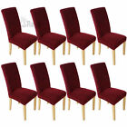 8PCS Wine SURE FIT Stretch Short Dining Chair Cover Protector Machine Washable