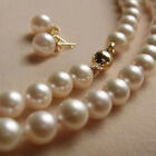 8MM White Akoya shell Pearl Necklace + Earring AAA 18