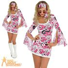 Adult 60s Hippy Chick Costume Ivana Gogo Fancy Dress Ladies Hippie Outfit New