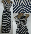 NEW EX WALLIS LADIES LONG MAXI SUMMER DRESS NAVY BLUE BEIGE STRIPE SIZE 10 - 18