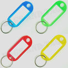 Plastic Key Ring Tags - Choose Keyring Colour - Pack of 4 10 or 25 Keyrings NEW