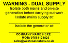 Electrical Safety Yellow Warning Labels - DUAL SUPPLY - 76mm x 50mm