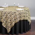 "10 CHEMICAL LACE TABLE OVERLAY 54"" X 54"" SQUARE TABLECLOTH SEQUIN COVER *SALE*"