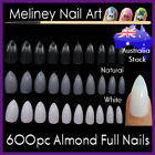 600pc Almond Nails Full Cover Stiletto Pointy False Tips Oval Claw artificial