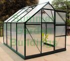 POLYCARBONATE GREENHOUSE - CLIP FREE GLAZING, GREEN, FREE BASE AND BASE ANCHORS