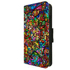 Disney Inspired Stained Glass Printed Faux Leather Flip Phone Cover Case