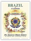 Brazil Coat of Arms Pan Am Vintage Airline Travel Art Poster Print