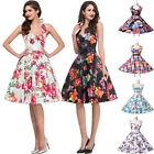 Retro Style 1950s Floral Pattern Cotton Backless Prom Party Full-Skirted Dress