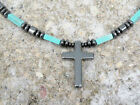 Men's Powerful Magnetic Hematite CROSS NECKLACE TURQUOISE STRONG Free Shipping
