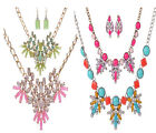 New Prom Wedding Bridal Jewelry Resin Party Diamond Women Necklace+Earrings Sets