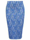 RIVER ISLAND BLUE WHITE FLORAL LACE BODYCON PENCIL MIDI SKIRT UK SIZES 6-18
