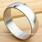 6mm Men Silver Polished Titanium Steel Simple Band Finger Ring
