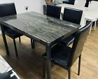 Marble Effect Gloss Finish Dining Table and Chairs Sets Dining in Black Brown