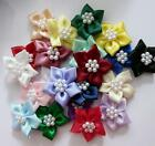 NEW PACK OF 20 SATIN RIBBON POINSETTIA FLOWERS WITH PEARL BEADS PYO COLOUR