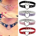 Women Favorite Goth Leather Rivet Punk  Heart Ring Collar Choker Funky Necklace