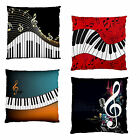 NEW~PIANO KEYS MUSIC CLEFT FIRM SMOOTH FEEL HOME DECOR CUSHION CASE~2 SIDE PRINT
